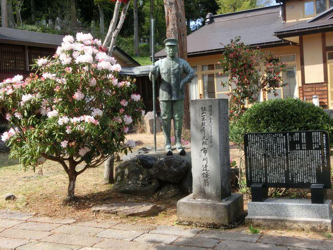 一本スキーの像が立つ明専寺 レルヒ直伝を伝えた住職