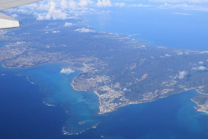 飛行機の窓から見えた名護市「辺野古崎」