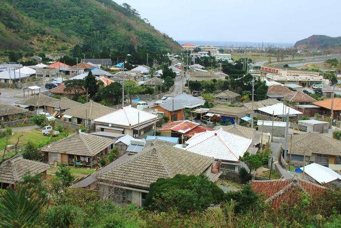 沖縄本島最果ての集落「奥」。昔ながらの瓦屋根の家並みの景観。
