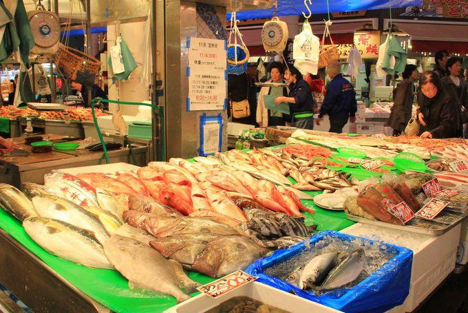 新鮮な日本海の鮮魚がたくさん並んでいます。
