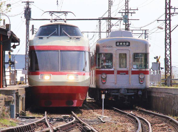 元小田急ロマンスカーと懐かしい東京の地下鉄車両が一緒に活躍