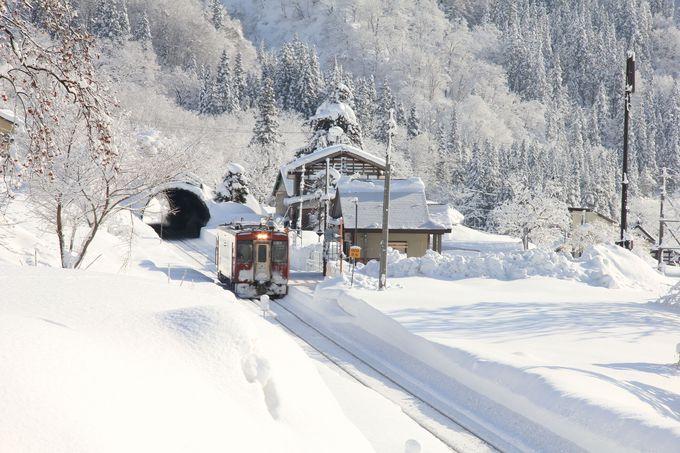 静寂の無人駅と雪の壁を行く列車を撮影。平滝駅
