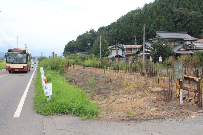 様変わりした廃線跡(終着の木島駅周辺)