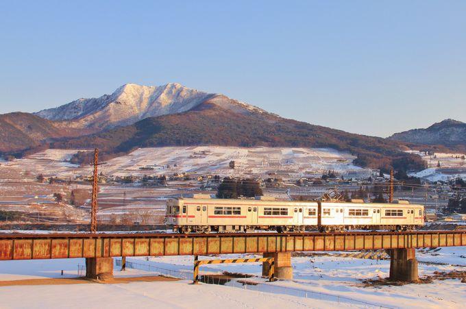 信州の山々と列車の撮影に一押し!人気撮影地の夜間瀬鉄橋
