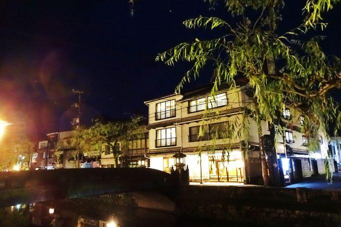 灯篭と柳並木に彩られた「川口屋本館」