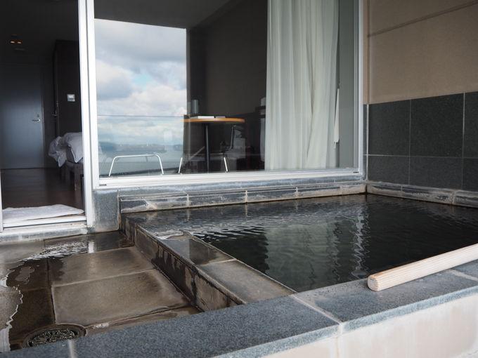 全室、天然温泉の展望露天風呂付!〜眺望も素晴らしいかけ流し温泉