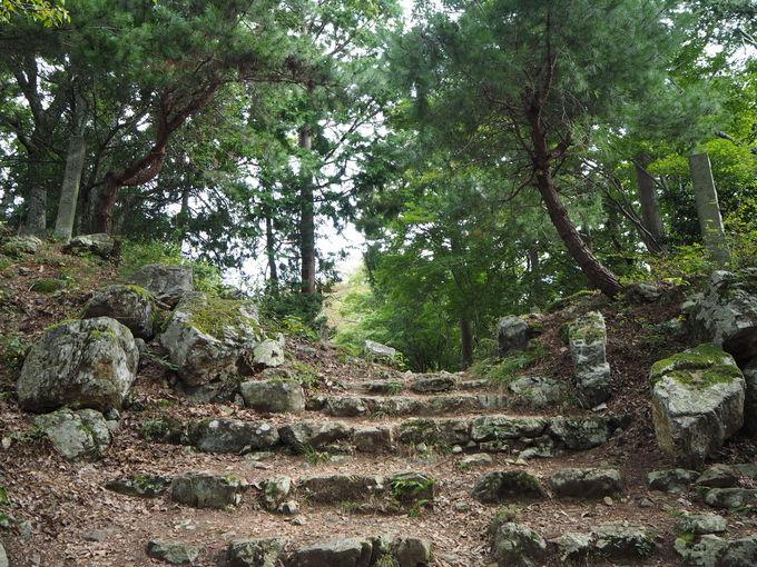 小谷城最大の曲輪跡から本丸へ