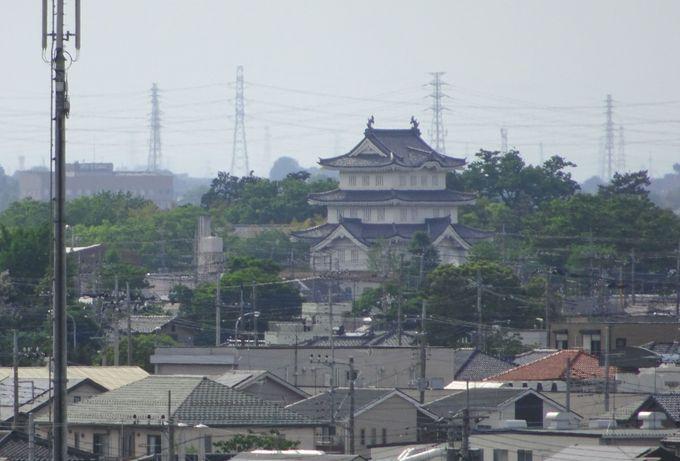 満喫ポイント2:丸墓山古墳の頂上から「忍城」を眺める!