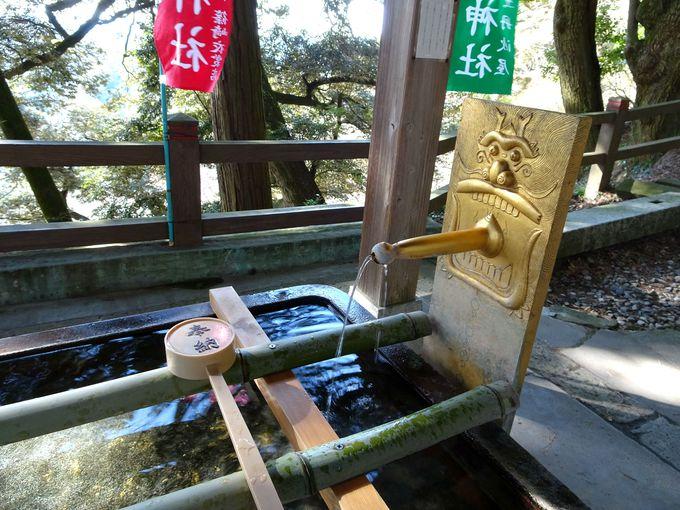 魅力1:拝殿に向かう前にある手水舎の「水口」