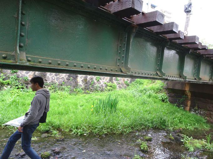 源兵衛川をまたぐ、線路…の下をくぐれるのも魅力!