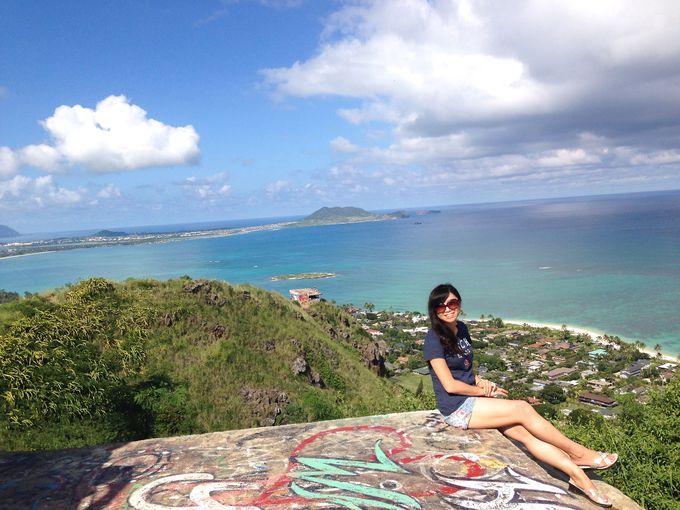 展望台からハワイの大自然をバックに記念写真を!