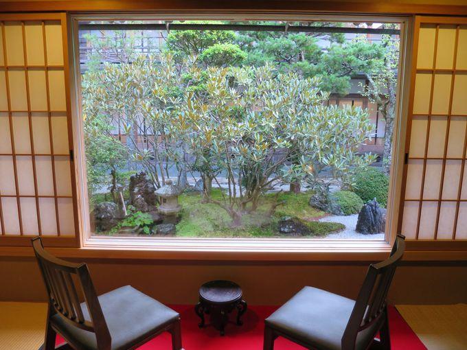 お勧めは、緑豊かな庭に面したお部屋