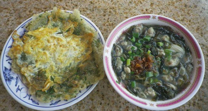 金門の牡蠣を使った「牡蠣入りのオムレツ」&「牡蠣入り麺線」