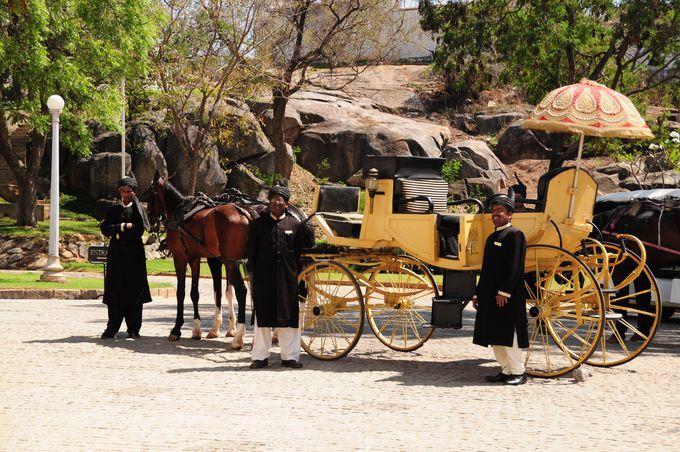 馬車に乗ってホテルへ向かうアプローチ。これぞ宮殿ホテル!