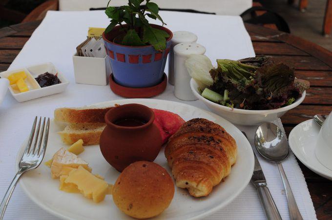 契約農家のオーガニック野菜で大満足の朝食。