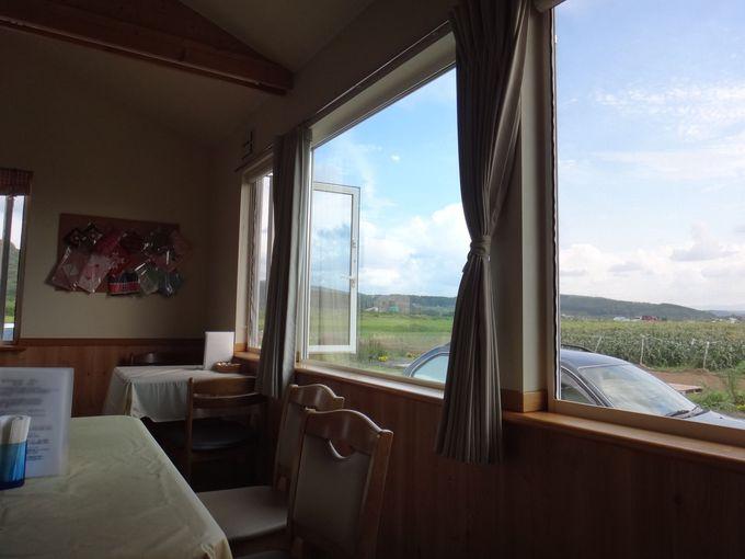 窓の外に広がる田園風景を眺めながら