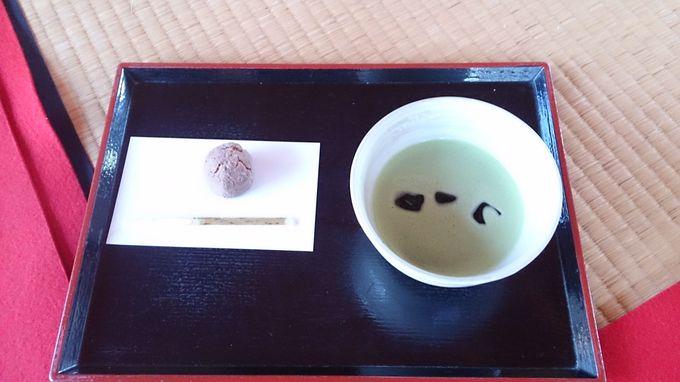 中島のお茶屋にて抹茶を飲んで、ひと休み