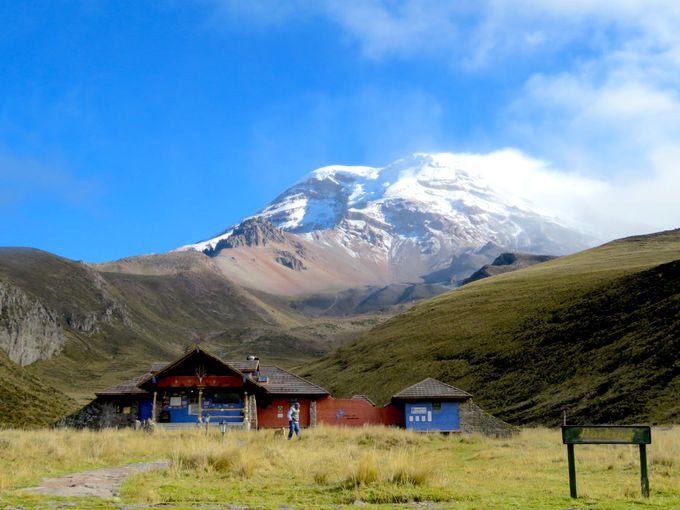 登山家憧れの山「チンボラソ」山麓にあるロッジ