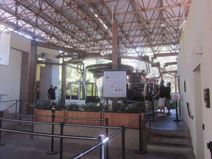 ブドウ畑の中の並木道を抜けるとそこは・・・ワイン工場へつながるAerial tram乗り場だった