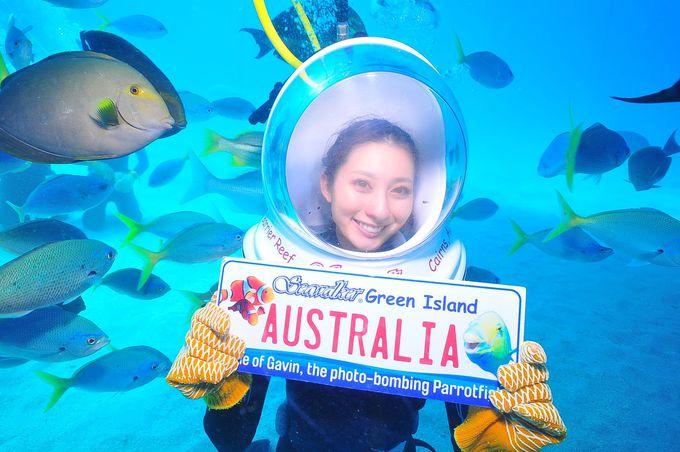 海底で記念撮影