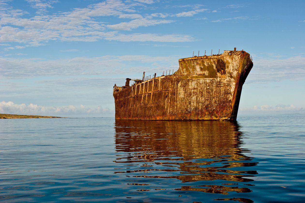 16:30 座礁した船が未だ残るシップレックビーチ