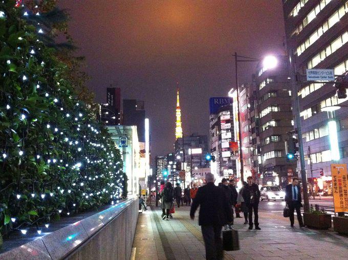 駅からの道のりは東京タワーがお出迎え