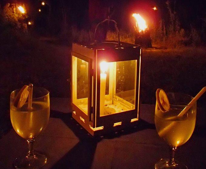 星降る夜空の下で、キャンプファイヤー・ディナー