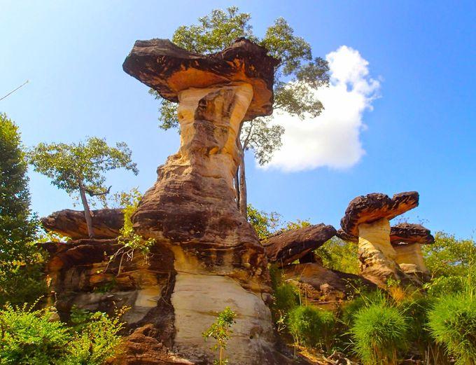 国立公園のシンボル。ハート型の岩が乗った奇岩で恋愛成就?