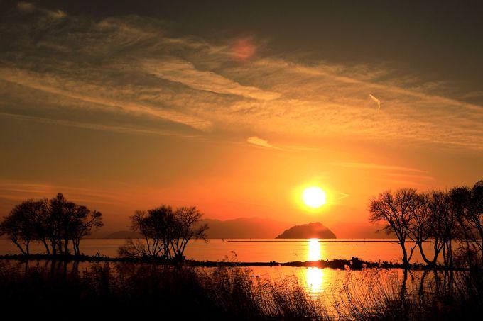 長浜市湖北町の夕陽を眺めるなら琵琶湖岸道路へドライブ!