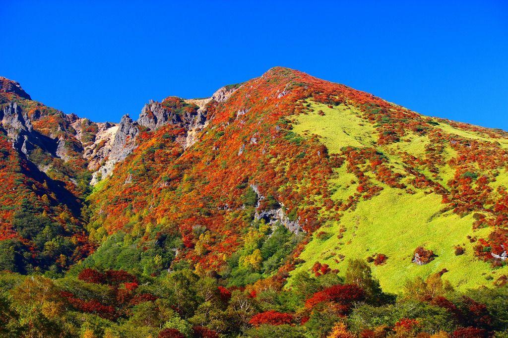 これが那須山の紅葉だ!山が赤く萌えています!