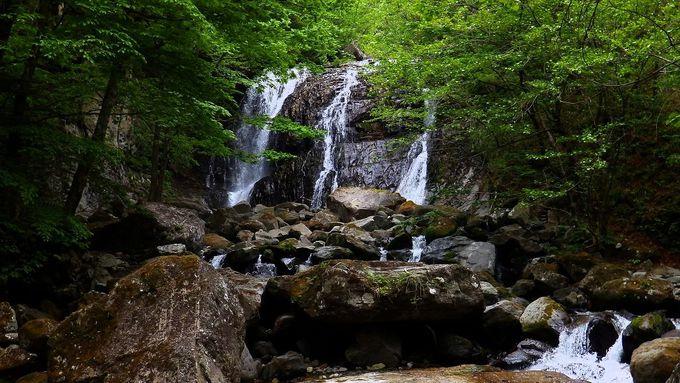 八方ヶ原、桜沢渓谷最奥に位置する滝「咆哮霹靂の滝(ほうこうへきれきのたき)」