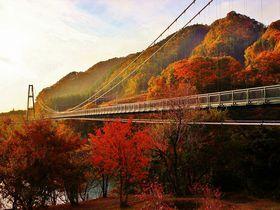 紅葉の名勝地・栃木那須塩原温泉「絶景の吊り橋と滝」を散策