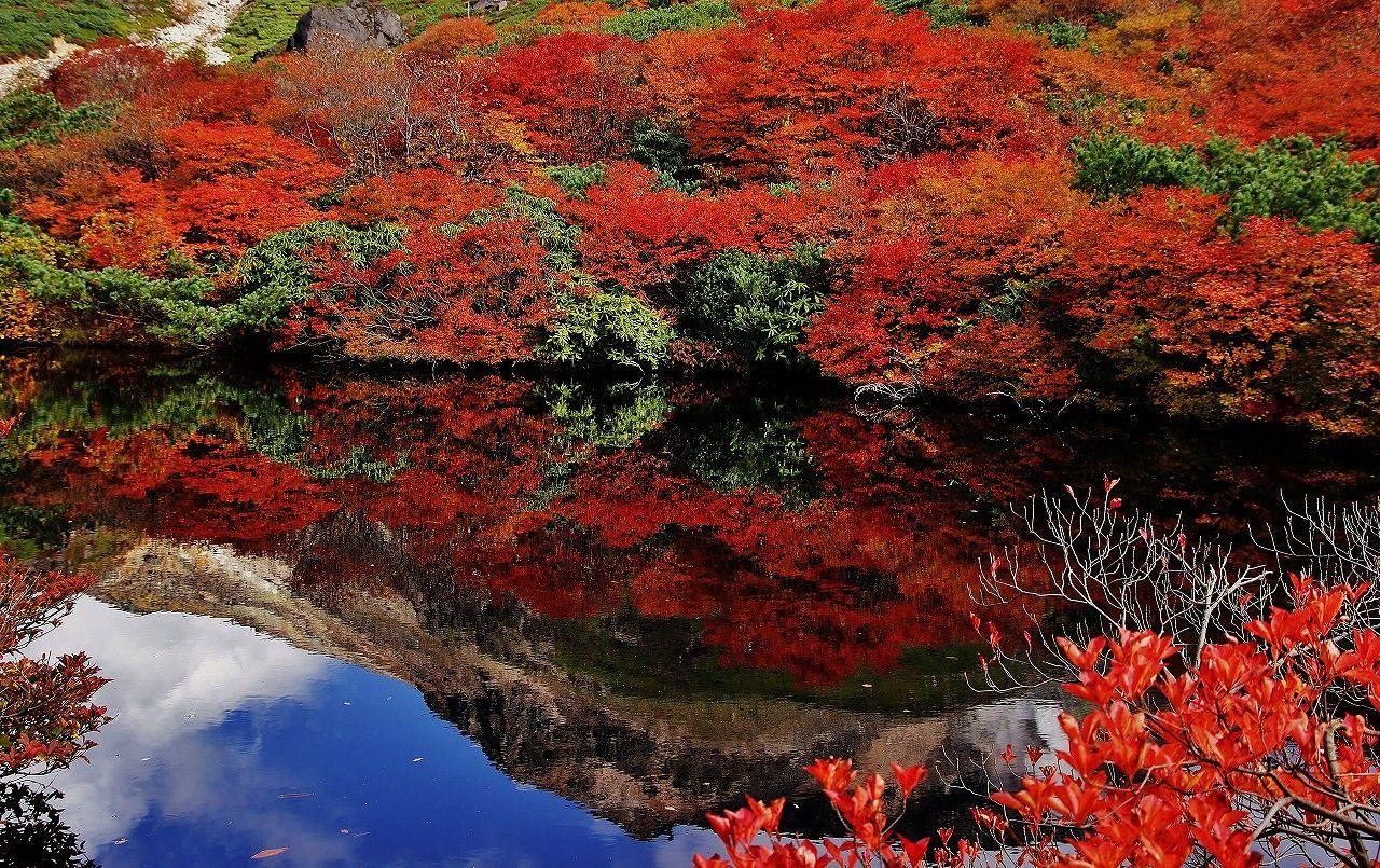 牛ヶ首を下れば絶景紅葉の名所「姥が平」と「ひょうたん池」が!
