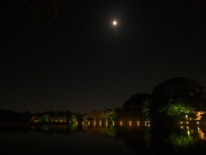 大沢池の上の十五夜