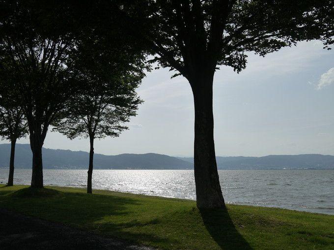 湖畔からの景色