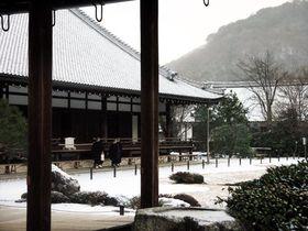 雪景色の京都嵐山「世界遺産天龍寺」が美しい!