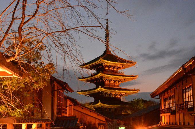 散策路と観光名所が灯りと生け花で飾られる「花灯路」