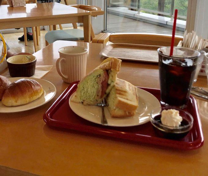 疲れたら眺めの良い「展望カフェ」で一休み