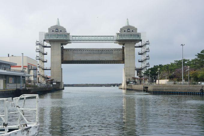 大パノラマを楽しむ、沼津港大型展望水門 びゅうお