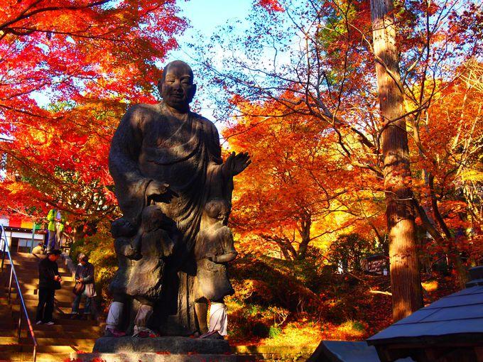 紅葉に映える大師像