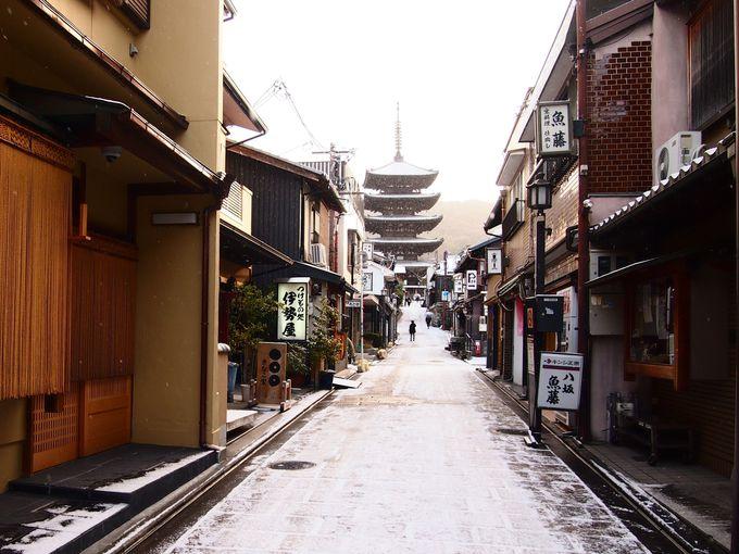 雪降る京の町