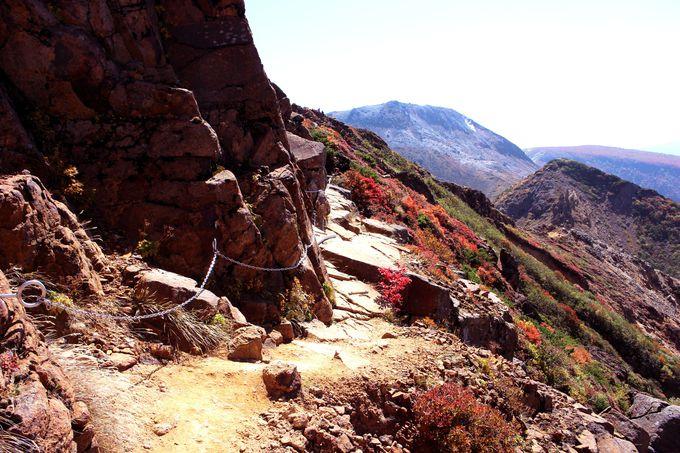 【スリリングポイント1.】崖の横は鎖をしっかり持たないと転落の危険!?