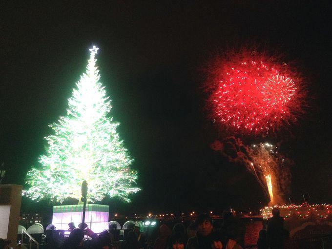 クリスマスファンタジーの注目は毎日行う点灯式と花火のコラボ