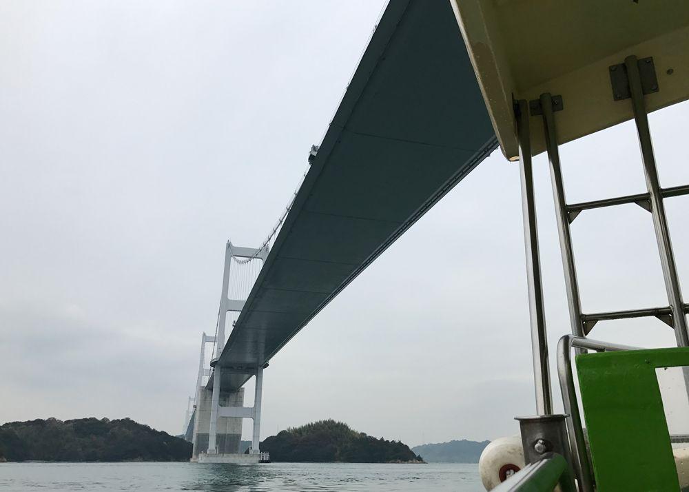 世界初の三連吊橋「来島海峡大橋」をくぐる!