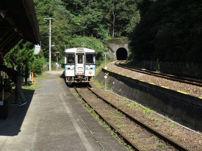「坪尻駅」は現役のスイッチバック駅