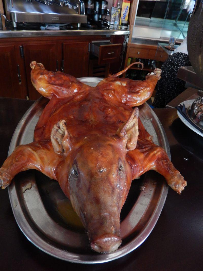 生ハムだけでなく、子豚の丸焼きもお勧めです!