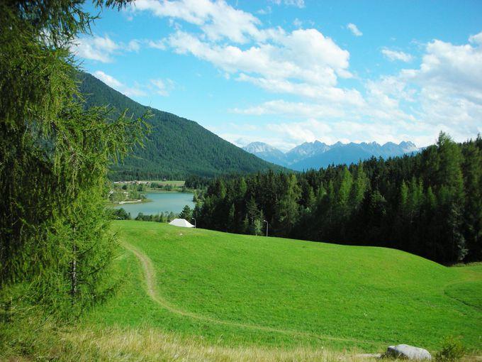 郊外のヴィルト湖周辺は、気軽なハイキングコース!