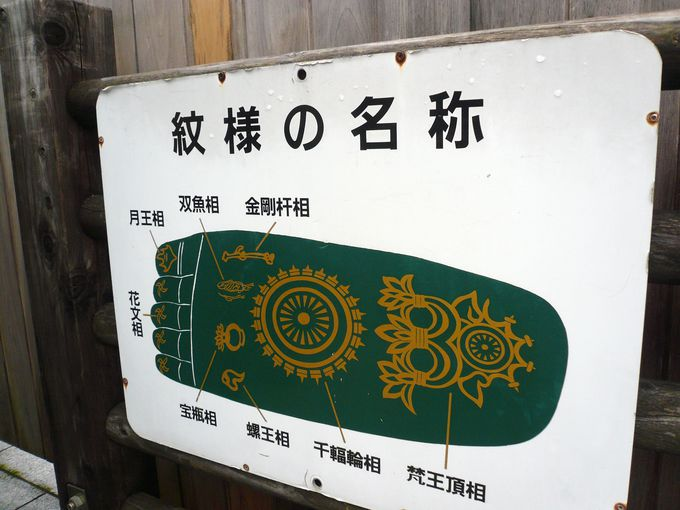 足裏の「仏足(ぶっそく)」の紋様も間近で楽しもう!