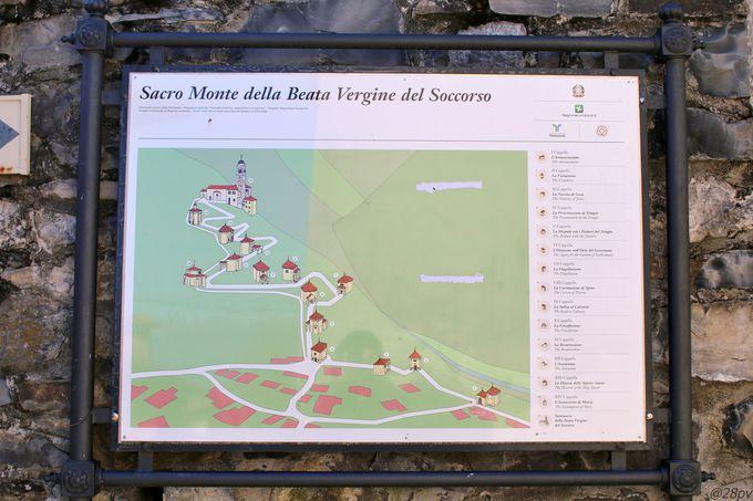 ソッコルソの丘の上に建つサクロ・モンテ