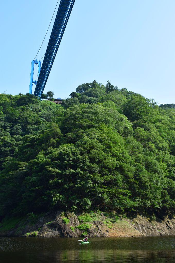 竜神大吊橋とバンジージャンプを見上げて